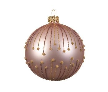 Kerstbal 80mm glas lijnen poeder roze
