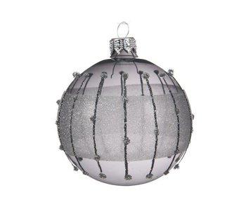 Kerstbal 80mm glas glitter strepen steengrijs