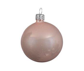 Kerstbal 15cm koker glas emaille poeder roze