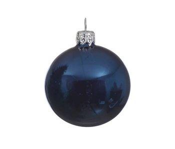 Kerstbal 15cm glas glans nachtblauw