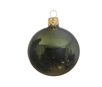 Kerstbal 15cm koker glas glans dennengroen