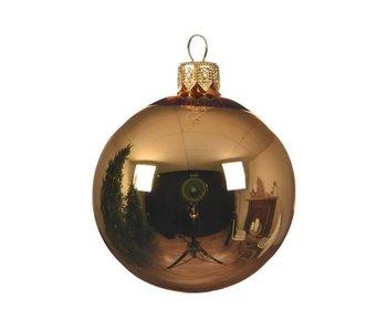 Kerstbal 15cm koker glas glans messing goud
