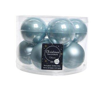 Koker a 10 kerstbal 60mm glas blauw mist