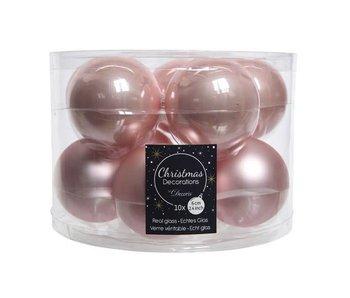 10 boules de Noël en verre rose