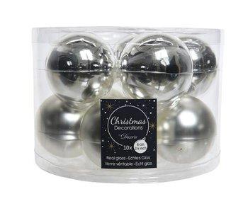 Koker a 10 kerstbal 60mm glas zilver