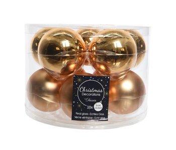 10 boules de Noël en verre dorée