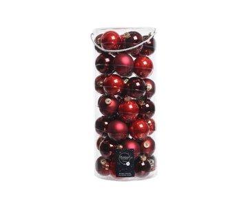 Koker a 49 kerstbal 60mm glas rode mix