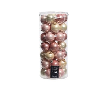 Koker a 49 kerstbal 60mm glas roze-parel