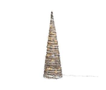 Besneeuwde piramide in rattan met LED lichten 60 cm