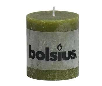 Bolsius stompkaars | 80/68 | Rustiek olijfgroen