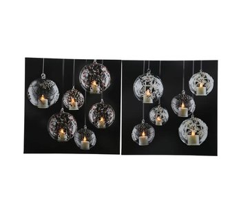 LED canvas kerstbal50x50cm-6L flame