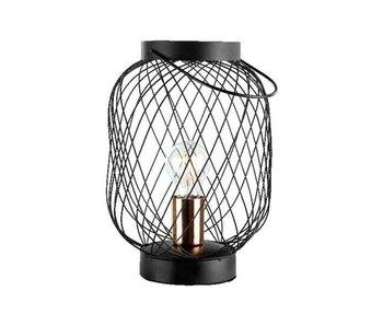 Tafellamp zwart ijzer lantaarn 21x30.5cm