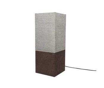 lampe de table en cuir pu 20x20x53 brun clair