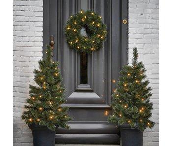 Glendon kerstboom krans groen frosted led