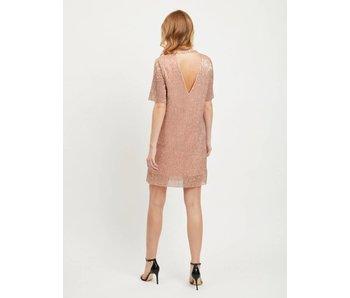 VILA Visequi korte jurk | Roze glitter | extra small