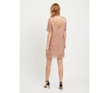 VILA Visequi korte jurk | Roze glitter | medium