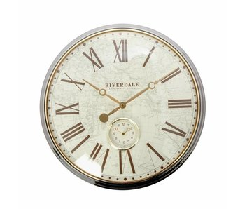 Riverdale Wall clock Worldmap bronze 50cm