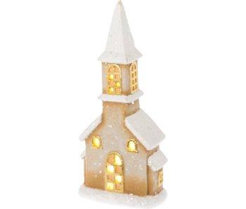 Riverdale Led-light church brown 43cm