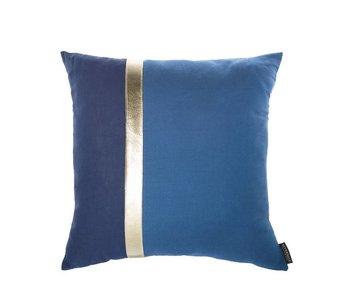 Riverdale Coussin bleu avec ligne doré | 45x45cm