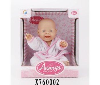Ammiya vinyl baby pop met badjas 38 cm