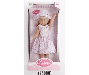Ammiya vinyl pop met jurkje en hoed 45 cm