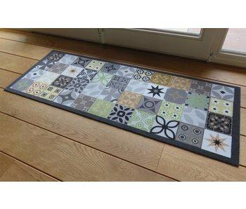 Deurmat/Tapijt Deco Style antra/groen 45x120 cm