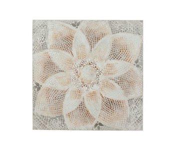 J-Line Cadre Fleur Mozaique Canevas/Bois Mix