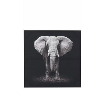 J-Line Tableau elephant noir/blanc (102x4x102cm)