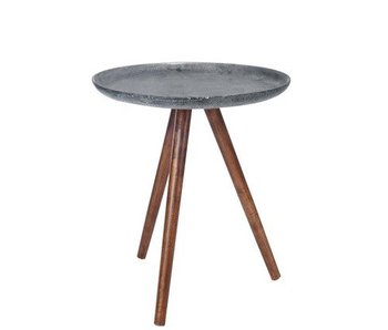 J-Line Table Gigogne Metal/Bois Anthracite/Naturel