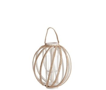 J-Line Photophore Spirale Anse Bois/Corde Blanc/Beige Small