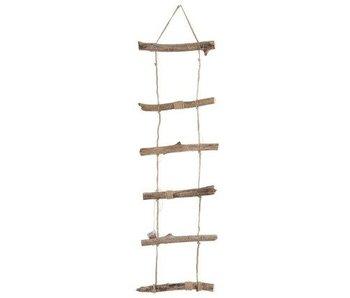 J-Line Ladder met Ledlichtjes | Hangend Hout Naturel | Large 140cm