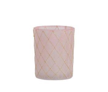 PHPH Quad verre rose/or L 11cm