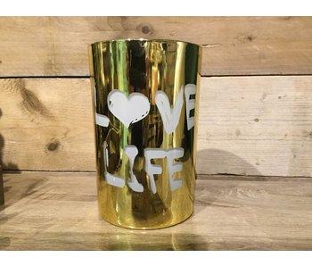 Theellicht Love Life goud 12X12X18