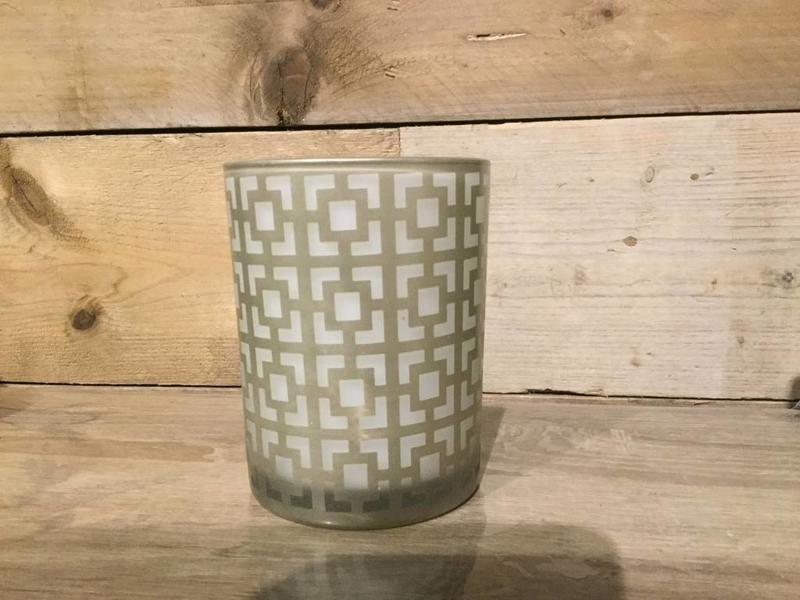 J-Line Theelichthouder Ibiza glas wit/goud medium