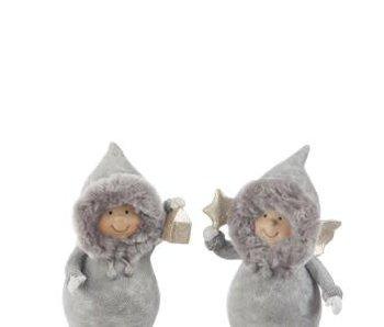 J-Line Enfant d'hiver gris avec cadeau (13x6x21cm)