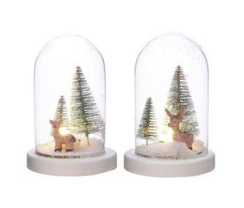 LED cloche glas kleine hert boom 15.5cm