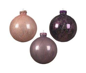 Kerstbal 80mm glas gouddraad - licht roze