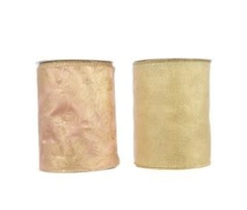 Lint polyester zonder figuur goud 12.8cm