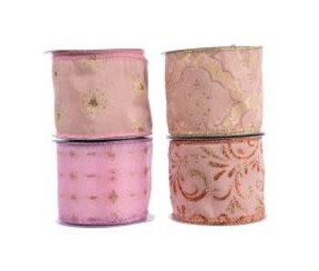 Lint polyester gouden motief draad 4 ass. poeder roze 6.3cm