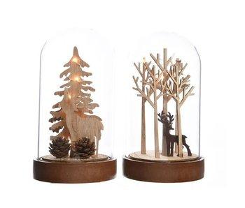LED cloche 4 bomen - bruin hertje /  warm wit 12x12x20.5cm