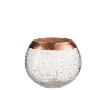 J-Line Kaarshouder Bol Craquele Glas Large