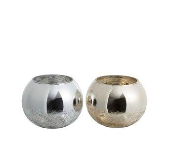 J-Line Windlicht Bol glas zilver 15x15x12 cm
