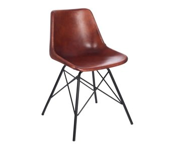 J-Line Chaise metal/cuir 51 x 51 x 79 cm