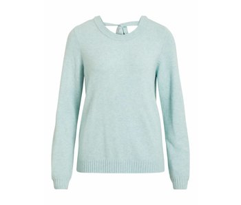 VILA Viril L/S open back knit top - blue - small