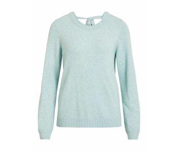VILA Viril L/S open back knit top - blue - medium