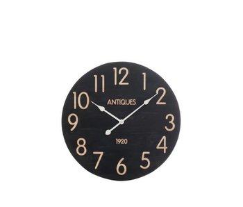 J-Line Zwarte klok in hout 60 x 5.1 x 60 cm