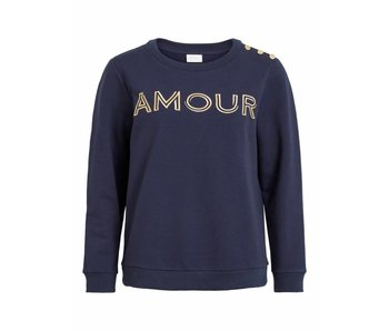 VILA Viamour sweat top - blue - medium