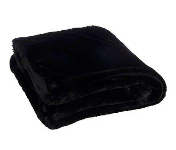J-Line Plaid in polyester zwart 130 x 180 cm
