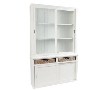 J-Line Buffet blanc en bois 135 x 40 x 215 cm