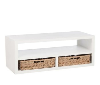 J-Line Table salon blanc en bois L120 x L50 x H45 cm